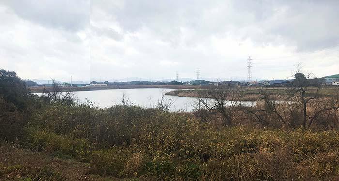 敷地周辺には池や田んぼが広がっています